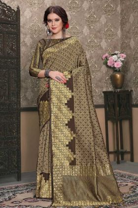 Brown Tanchui Art Silk Festive Saree