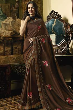 Brown Vichitra Silk Saree Online