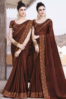 Brown Vichitra Silk Wedding Saree