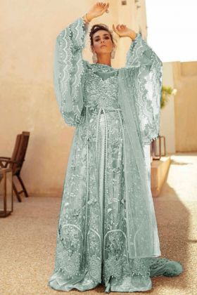 Butter Fly Net light green pakistani suit with Heavy Embroidry Dupatta