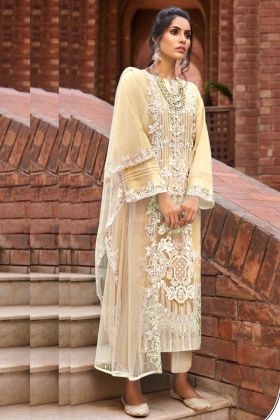 Butterfly Net Light Yellow Color Pakistani Salwar Kameez For Eid 2021