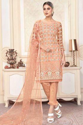 Butterfly Net Peach Color Party Wear Salwar Suit