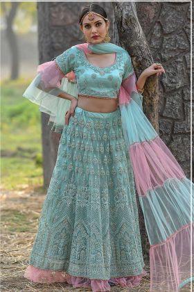 Butterfly Net Party Wear Lehenga Choli Zari Work In Mint Color