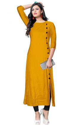 Button Work Mustard Yellow Color Rayon Long Kurti
