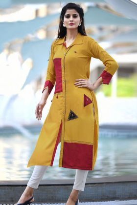 Buttons Work Mustard Yellow Color Cotton Designer Kurti