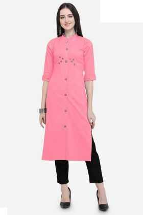 Buttons Work Pink Color Cotton Designer Kurti