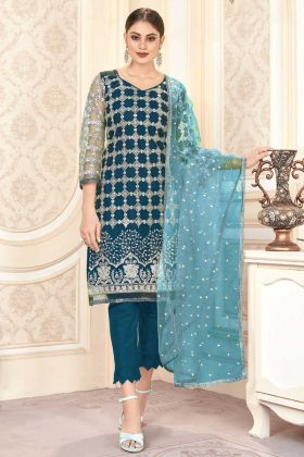Buy Blue Color Designer Butterfly Net Pakistani Woman Wedding Dress