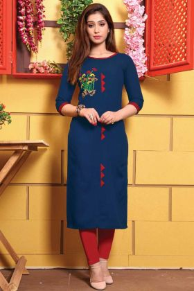 Buy Blue Color Trendy Cotton Kurti In Lowest Rate