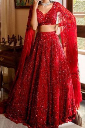 Buy Bollywood Style Red Color Heavy Georgette Lehenga Choli Online