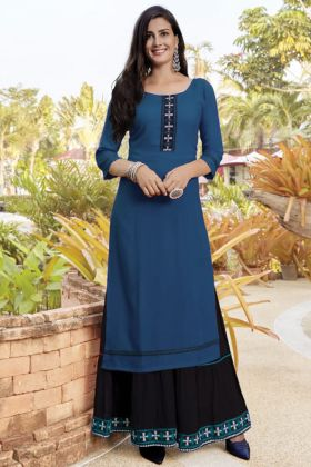 Buy Branded Blue Color Slub Cotton Sharara Kurti Set