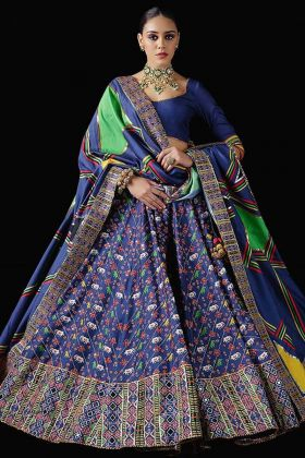 Buy Fabulous Blue Color Pure Killer Silk Lehenga Choli For Wedding