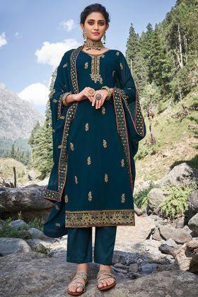 Buy Fabulous Teal Blue Faux Georgette Salwar Suit For Wedding Wear