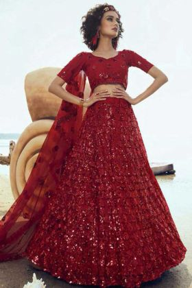 Buy Fancy Red Color Party Wear Lehenga Choli In Soft Net Fabric