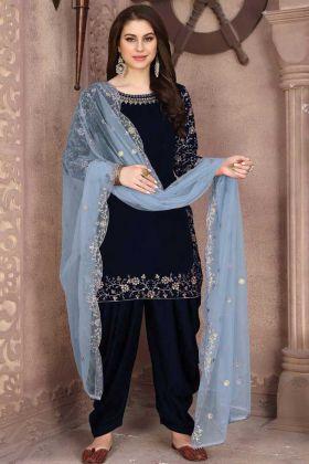 Buy Gorgeous Blue 9000 Velvet Embroidered Patiala Panjabi Suit