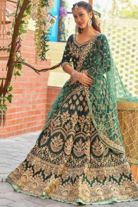 Buy Green Color Bridal Lehenga Choli In Chennai Silk Fabric Online