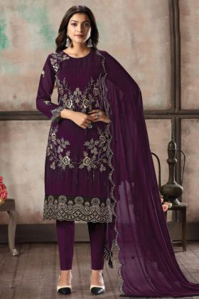 Buy Heavy Party Wear Foux Georgette Purple Salwar Kameez Online