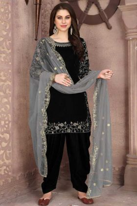 Buy Latest Black Velvet With Embroidered Patiala Salwar Suit