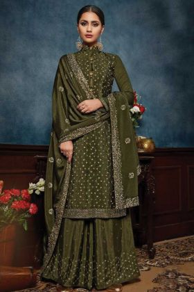 Buy Latest Designer Mehendi Color Chiffon Salwar Kameez