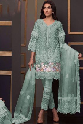 Buy Light Green Eid Pakistani Salwar Suit with ButterFly Net Fabric with Santoon Bottom and Inner