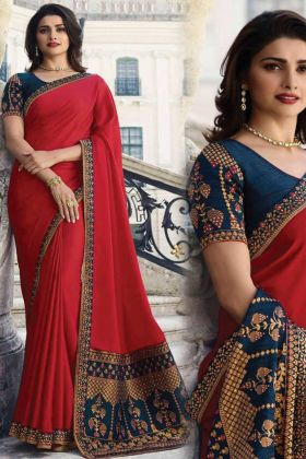 Buy Now Gorgeous Wedding Pretty Sana Silk Red Color Saree