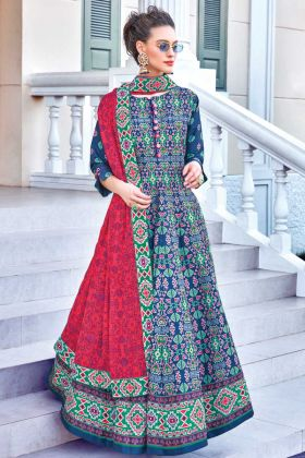 Buy Onilne Unique Design Of Soft Silk Printed Gown In Blue Color