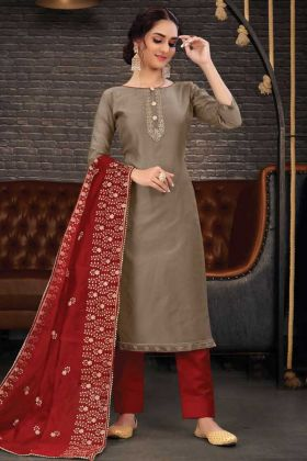 Buy Online Beige Latest Wearing Chanderi Salwar Suit
