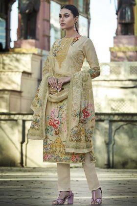 Buy Online Cream Color Pure Cotton Fancy Palazzo Suit
