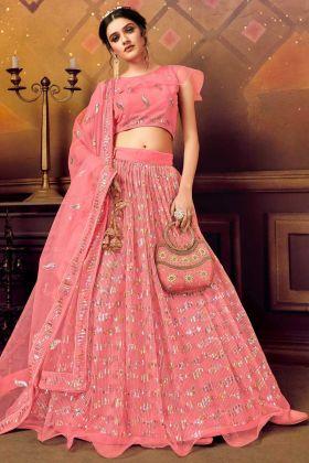 Buy Online Designer Soft Net Pink Color Lehenga Choli
