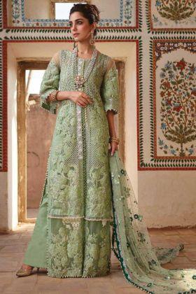 Buy Online Fancy Embroidered Green Color Pakisatni Salwar Suit In Net