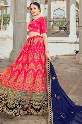 Buy Online Heavy Embroidered Designer Trendy Silk Lehenga In Pink Color
