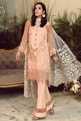 Buy Online Latest Designer Peach Georgette Pakistani Suit