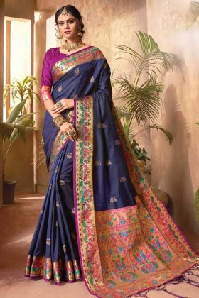 Buy Online Latest Hit Designer Violet Color Jecquard Silk Saree