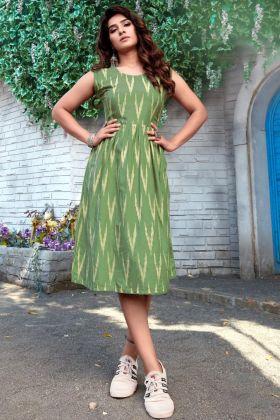 Buy Online Light Green Fancy Rayon Printed Western Kurti