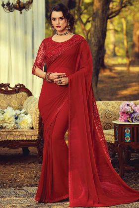Buy Online Party Wear Kasab Georgette Fancy Saree In Red Color