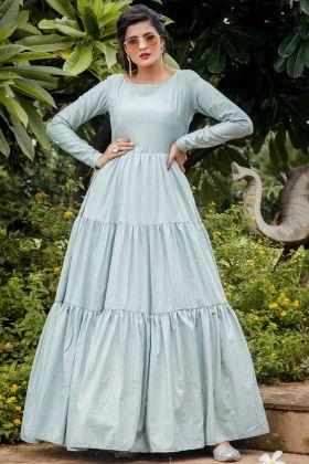 Buy Online Pastel Blue Color Silk Blend Anarkali Suit For Function