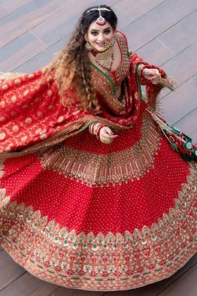 Buy Online Red Color Bridal Tafeta Silk With Heavy Embroidered Trendy Lehenga Choli