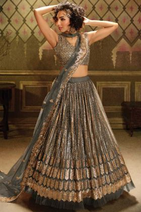 Buy Online Soft Net Sequence Grey Color Stylish Lehenga Choli