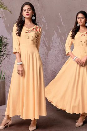 Buy Online Stylish New Design Of Cream Rayon Long Kurti