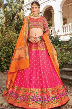 Buy Online Trendy Bridal Silk Designer Lehenga Choli In Pink Color