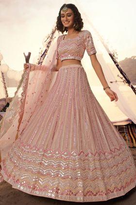 Buy Peach Color Designer Wedding Organza Lehenga Choli Arrival