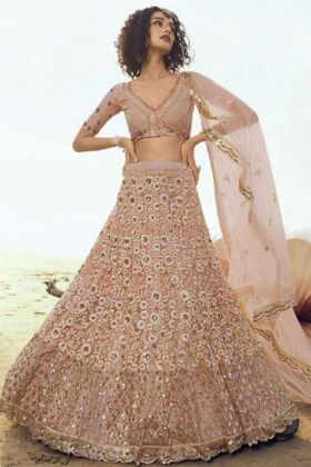 Buy Peach Color Soft Net Bollywood Style Lehenga Choli