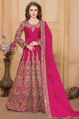 Buy Pink Color Designer Heavy Taffeta Silk Dress For Reception