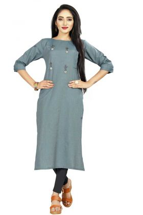 Buy Rayon Kurti In Blue Color For Office Wear