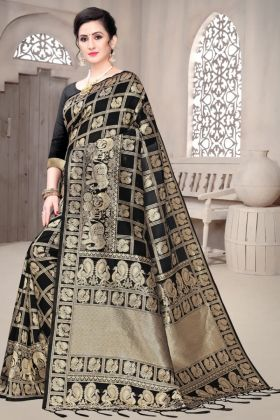 Buy Soft Banarasi Silk Black Color Full Weaving Pallu Saree Online