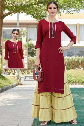 Buy Super Hit Pretty Heavy Rayon Dress In Maroon Color Online