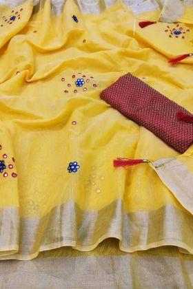 Buy Trendy Yellow Color Linen Cotton Saree Online