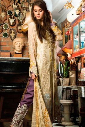 Cambric Cotton Pakistani Dress Yellow Color With Embroidery Work