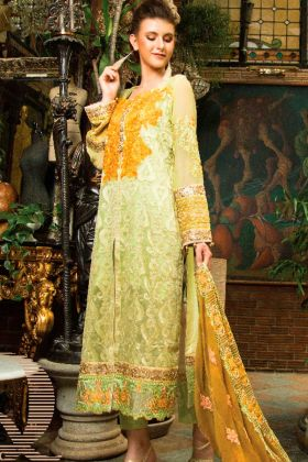 Cambric Cotton Pakistani Salwar Kameez Green Color With Embroidery Work