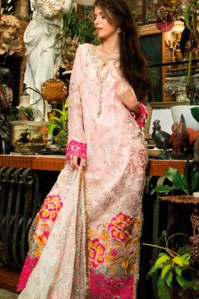 Cambric Cotton Party Wear Pakistani Suit Embroidery Work In Peach Color