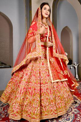 Candy Red Ruby Silk Bridal Lehenga Choli